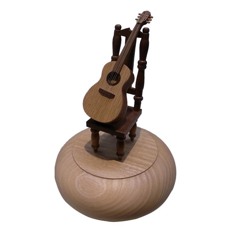画像1: 18弁オルゴール ギターオブジェケース (1)