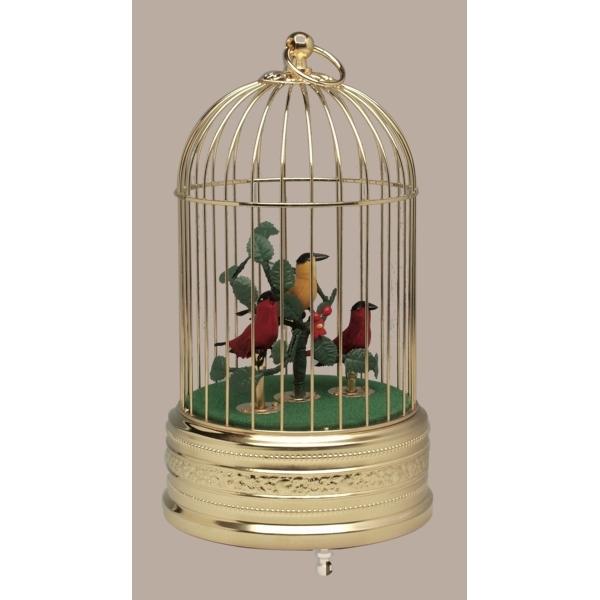 画像1: バードケージ「金」鳥3羽 (1)