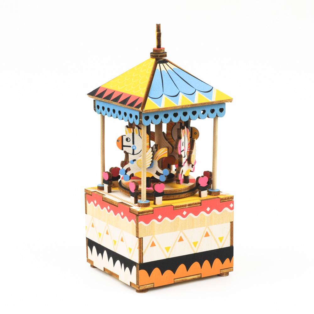 画像1: 【DIY木製パズルキット オルゴール】メリーゴーランド(カラー) (1)