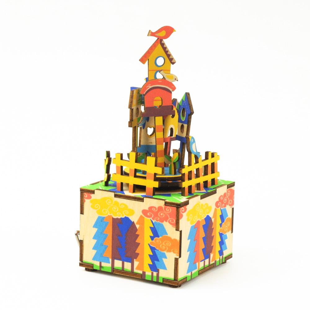 画像1: 【DIY木製パズルキットオルゴール】 空のおうち (1)