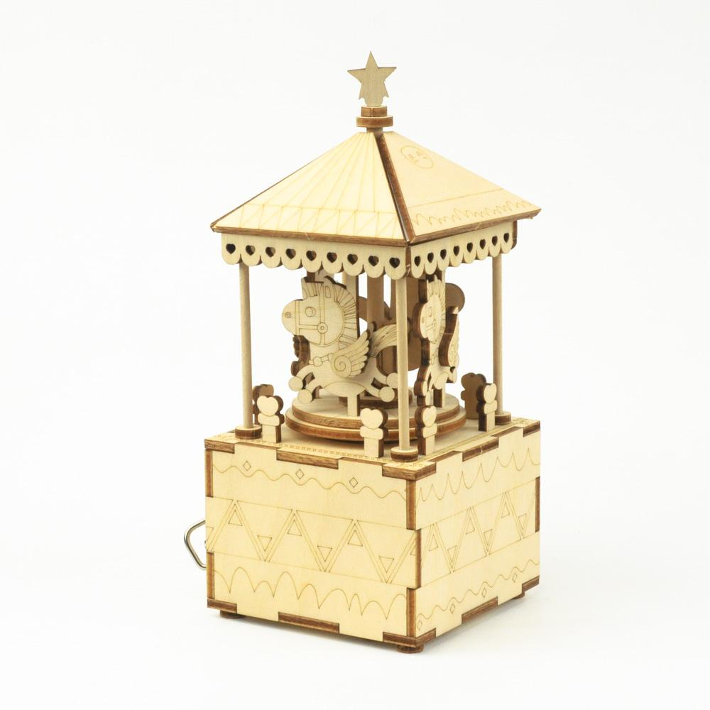 画像1: 【DIY木製パズルキットオルゴール】 メリーゴランド(ナチュラル) (1)