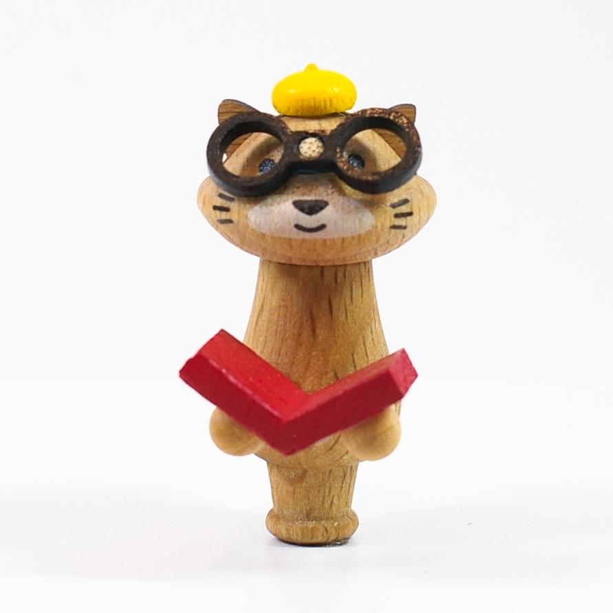 画像1: Mサイズ*メガネ猫 【wooderful life DIYオルゴールオブジェ】 (1)