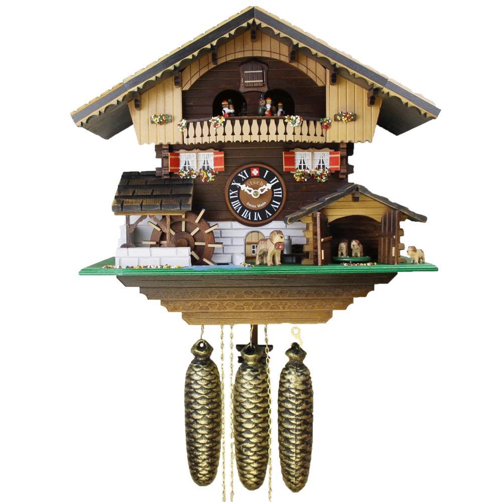 画像1: カッコー時計(鳩時計) 子犬と山小屋 (1)