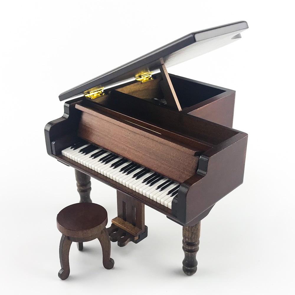 画像1: 18弁オルゴール用 木製アンティーク調グランドピアノケース (1)