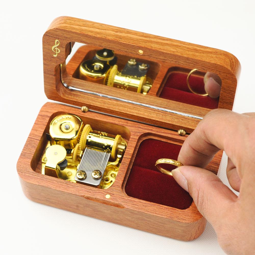 画像1: 18弁オルゴール用 リングピローボックス(ブビンガ) (1)